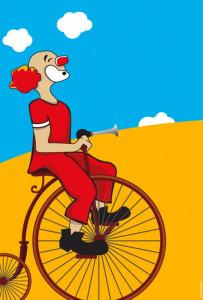 Charlie Rivel en bicicleta