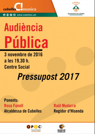 Cartell Audiència pressupost 2017